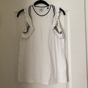 Cabi White Tank with Ruffle Detail